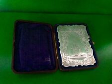 Cased Scott Memorial Castle Top Antique English Sterling Silver Card Case 1878