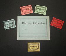 LOT 5 BONS POINTS & BILLET SATISFACTION SCOLAIRE ANCIEN VIERGE ECOLE SCHOOL OLD