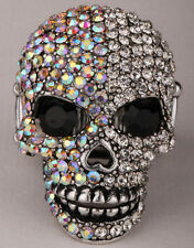 Skull stretch ring women biker bling jewelry gift dropship silver AB crystal 5