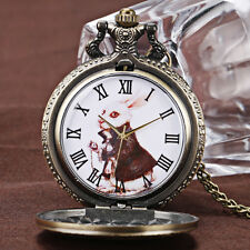 Vintage Alice in Wonderland Rabbit Dial Quartz Pocket Watch Necklace Xmas Gift
