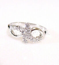 Women CZ Cubic Zirconia Valentines Xmas Wedding Ring SZ 7 N White Gold Plated