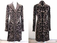 Elie Tahari Womens Brown Velvet Tapestry Embroidered Long Duster Coat Jacket S