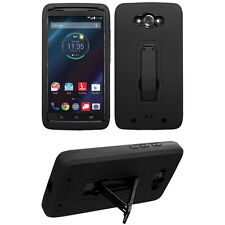 Black 2-Layer V Stand Case MOTOROLA XT1254 XT1250 XT1225 Moto Maxx Droid Turbo