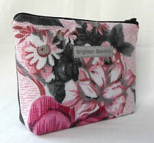 70s Vintage Roses Fabric Zip Purse Make Up Bag Pink & Grey Floral Big Floral.