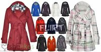 Plus Size Big Ladies Belted Button Hood Jacket Coat Womens 16 18 20 Womens Coats