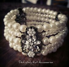 Vintage white crystal flower multi row white pearl cuff bracelet