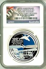 2014 S$1 Australia 100th Anniversary Military Aviation Early Release NGC PF70 UC