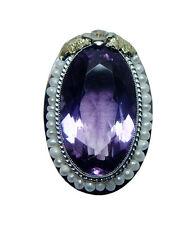 Giant Antique 12ct Amethyst Seed Pearl Filigree Ring 14K White Gold Estate VIDEO