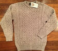 INIS CRAFTS Irish Aran Merino Wool Mens Fisherman Crew Neck Sweater Beige M NWT
