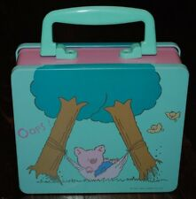 "Vintage Sanrio Zashikibuta in Hammock Tin Box with Handle ""Oops!"" 1992"