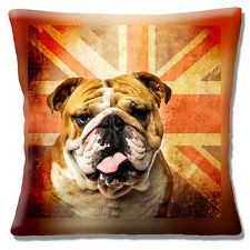 "NEW RETRO BRITISH BULLDOG ADULT FACE ON UNION JACK FLAG 16"" Pillow Cushion Cover"