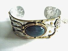 Silver Copper & Gold Tone Bangle Cuff Bracelet Green Stone New With Tag
