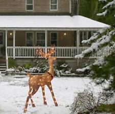 """48"""" Lighted Champagne Glitter Buck Deer Sculpture Outdoor Christmas Yard Decor"""