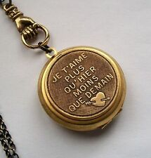 JE T'AIME n French I LOVE YOU MORE TODAY THAN YESTERDAY Vintage Locket Necklace
