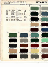 1949 1950 1951 1952 PLYMOUTH CONCORD CAMBRIDGE CRANBROOK PAINT CHIPS 4952 MS