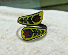 Sterling Silver Enamel Lotus By-Pass Ring.