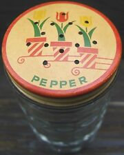 Vintage Fire King Tulip Pepper Shaker Clear Ribbed Glass Metal Cover Lid 1960s
