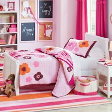 HANNA FLOWERS Twin (single) QUILT SET : TEEN GIRLS PINK CHOCOLATE BROWN BEDDING