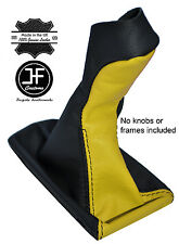 BLACK & YELLOW LEATHER MANUAL GEAR KNOB GAITER COVER FITS MERCEDES E CLASS W211