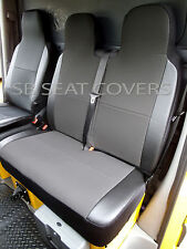 VW TRANSPORTER T4 VAN SEAT COVERS SLATE BLACK + LEATHERETTE BOLSTERS