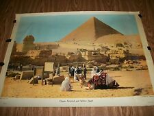 VINTAGE POSTER~ BY A.J. NYSTORM & CO.  ~ CHEOPS PYRAMID AND SPHINX EGYPT