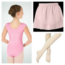 Body Wrappers BWC120 Girl's 4-6 (Small) Pink Short Sleeve Leotard Tights & Skirt