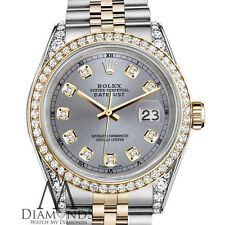 Rolex Stainless Steel - Gold 26 mm Datejust Watch Grey Diamond Dial With a Track