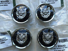 GENUINE JAGUAR BLACK / SILVER ALLOY WHEEL CENTRE CAP BADGES NEW MXD6249CA NEW