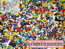 Lego 1kg Mixed Bricks, Parts and Pieces inc Minifig & Vehicle