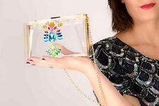 Designer clear jewelled perspex box bag clautch bag evening shoulder bag