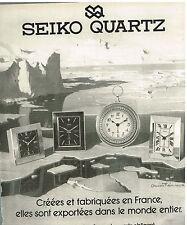Publicité Advertising 1978 Les Pendules et pendulettes Seiko Quartz