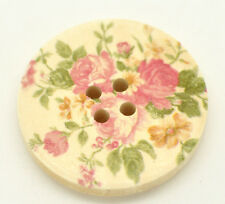 10 Pretty Floral Rose Wood Painted Sewing Buttons 30mm Sewing