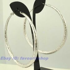 """2.28""""8g BIG MATTED CIRCLE REAL 18K WHITE GOLD PLATED HOOP EARRINGS SOLID GP f11"""