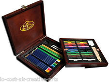 ROYAL & LANGNICKEL ARTIST PREMIER DRAWING COLOUR PENCIL WOODEN BOX SET 49 PCS