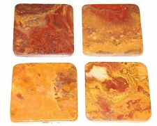 Luxury Red Onyx Marble Stone Drink Coasters 1 set of four
