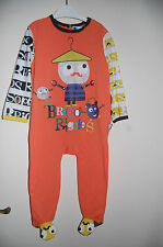 One Piece Sleepsuit Non Slip Feet Orange Mix Petie Beguin Age 24 Months BNWT