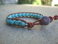 Men's Turquoise 8mm Beaded Copper colored Leather Wrap Bracelet Surfer Wristband