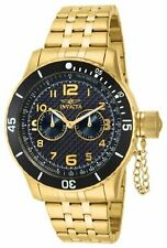 Invicta Specialty Black Carbon Fiber Dial 18k Gold Ion-plated Mens Watch 14888