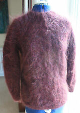 New Hand Knitted Vintage style burgundy mohair crew long sleeve jumper size 14