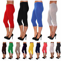 NEW Cropped with Lace 3/4 Leggings Cotton Lace - All Colours and Sizes