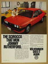 1980 VW Volkswagen SCIROCCO red car johnny rutherford photo vintage print Ad