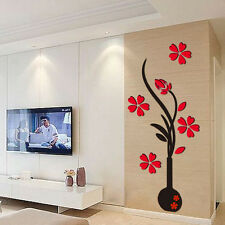 Fashion 3D Vase Removable Flower Tree Crystal Acrylic Wall Sticker Home Decor