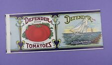 c1910 Defender Tomato Can Label - Sailing Interest - Original Unused Stock