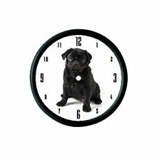 BLACK PUG PUPPY DOG PHOTO WALL CLOCK - ANIMAL PET LOVER GIFT