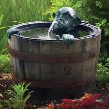 Pond Fountain Decorative Man In Barrel Pump Water Feature Garden Outdoor Garden