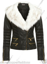 NEW Faux Fur BIKER JACKET Womens Fitted FAUX LEATHER Ladies Size 8 10 12 14