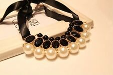 Hot Fashion Charm Elegant Alloy Black Rhinestone Pearl Ribbon Bib Necklace