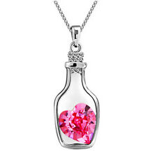Women's Fashion Crystal Chain Rhinestone Gift Love Heart lover Pendant Necklace