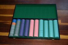 Vintage Set of 500+ Poker Chips in Hard Case with Green Felt