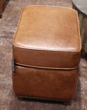 "22"" W Beautiful ottoman top grain light brown leather hand crafted quality nice"